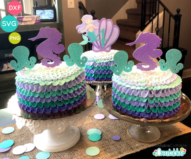 Cute Mermaid SVG cut file cake topper idea