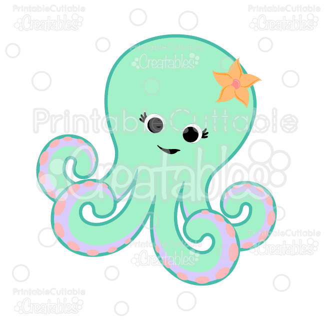 Cute Octopus SVG Cut File & Clipart
