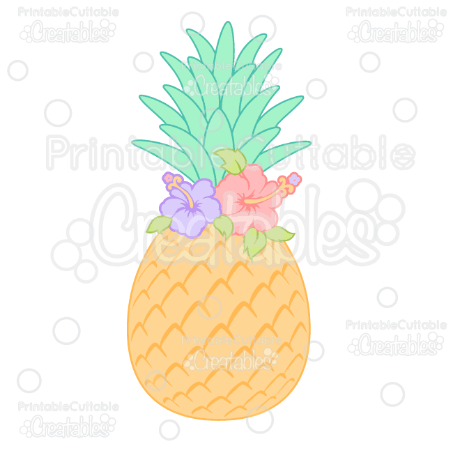 Hibiscus Flower Pineapple SVG Cutting File & Clipart