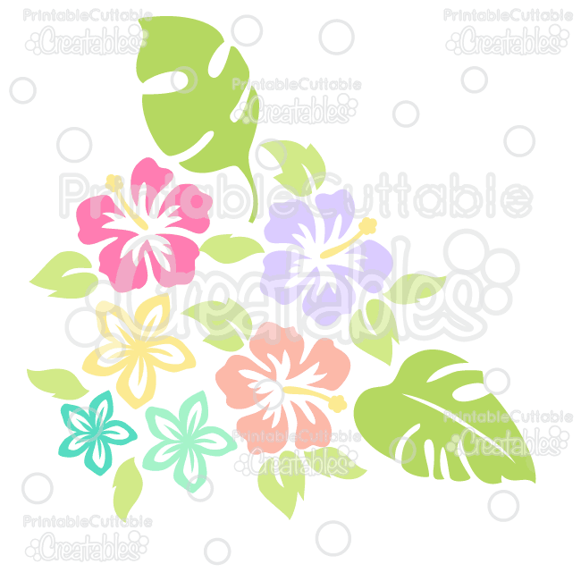 Tropical Flowers Silhouettes Free SVG Cut File & Clipart
