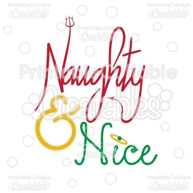Naughty & Nice Title SVG Cutting File & Clipart