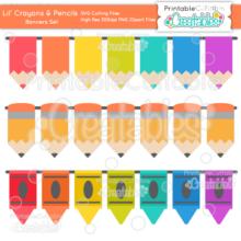 Lil Crayons & Pencils Borders Set SVG Cut File & Clipart