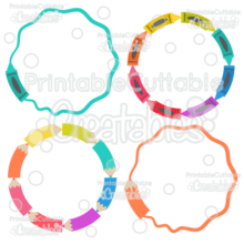Crayons & Pencils Circle Monogram Frames SVG Cut File & Clipart
