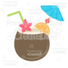 Tropical Coconut Drink SVG Cut File & Clipart