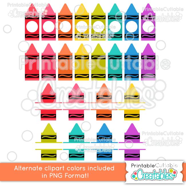 Whole Split Monogram Crayons Clipart Color Options