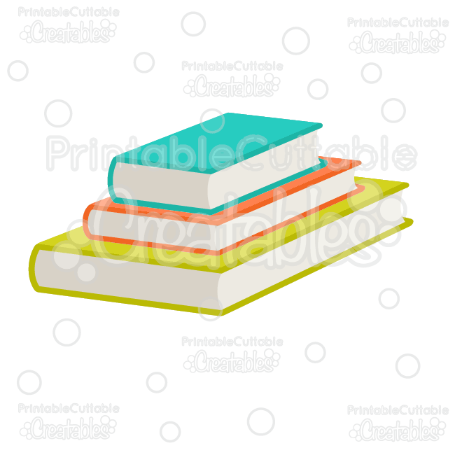 Stacked School Books SVG Cut File & Clipart