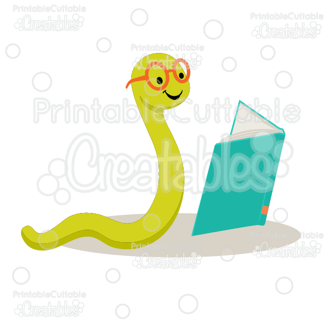 Cute Bookworm SVG Cut File & Clipart