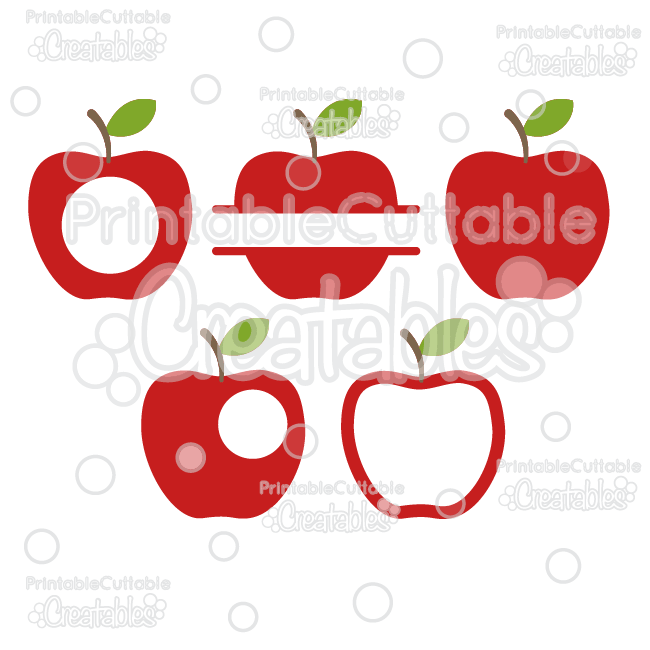 Whole Split & Monogram Apples SVG Cut File & Clipart