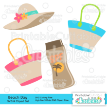 Beach Day Embellishment Set SVG Cut Files & Clipart