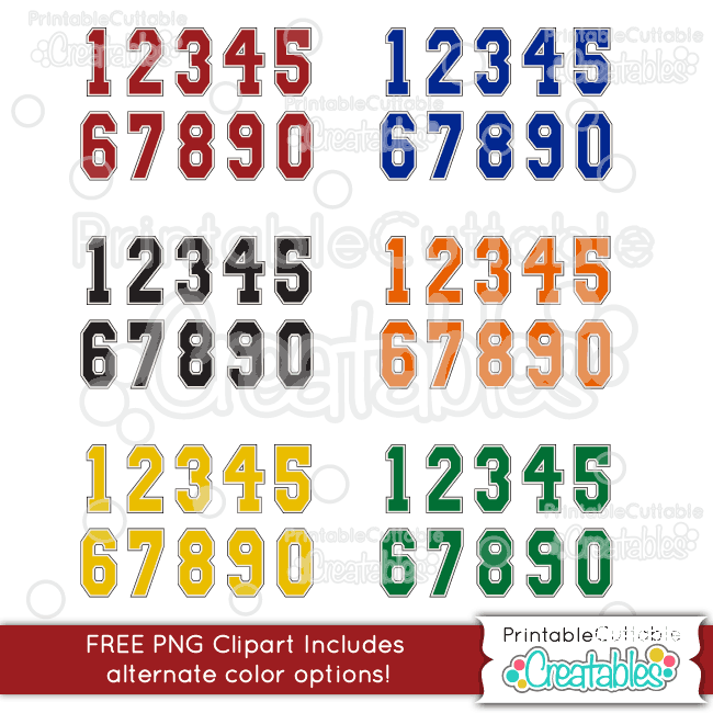 Varsity Numbers FREE Clipart Set