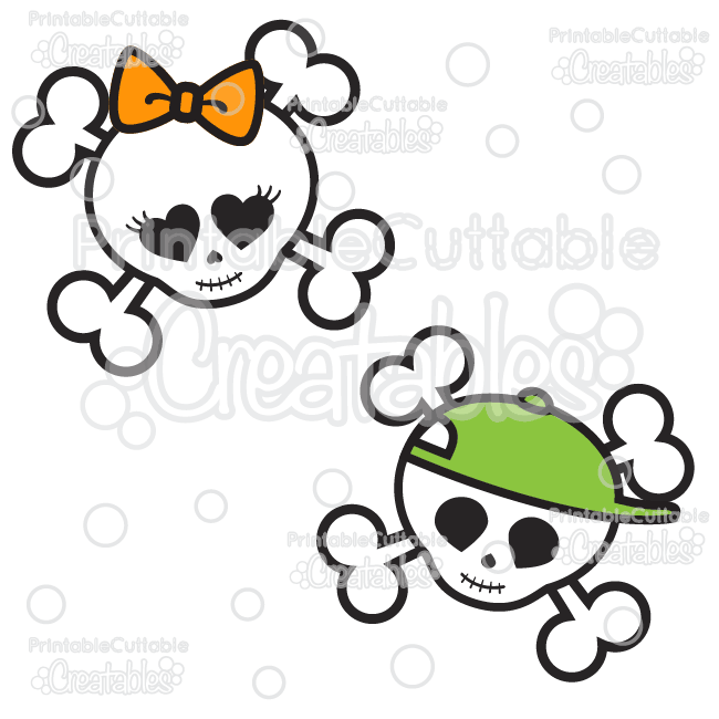 Cute Skulls Halloween SVG Cutting Files & Clipart
