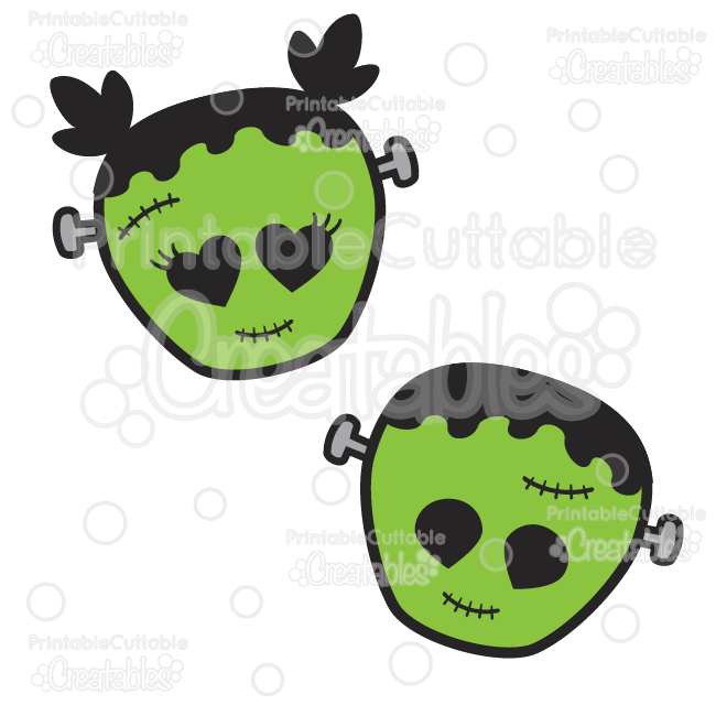 Cute Frankenstein Halloween SVG Cut Files & Clipart
