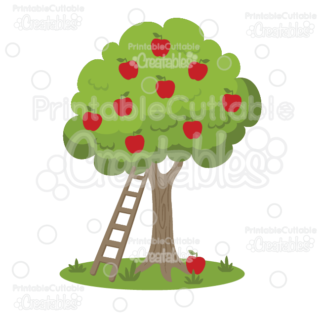Apple Picking Apple Tree SVG Cut File & Clipart