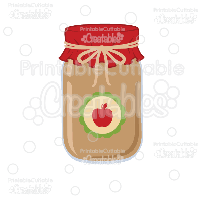 Apple Jam Mason Jar Free SVG Cut File