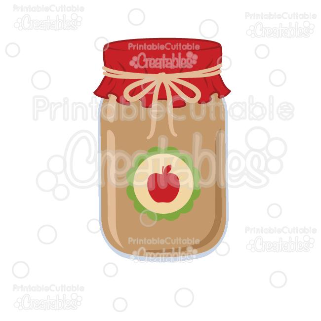 Apple Jam Mason Jar Free SVG Cut File