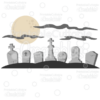 Spooky Graveyard Scene SVG Cut File & Clipart