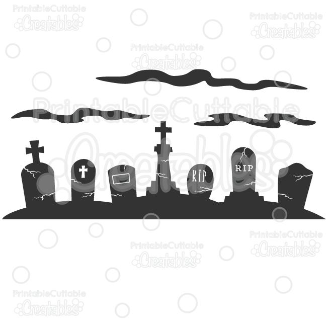 Spooky Graveyard Scene Silhouette SVG Cut File & Clipart