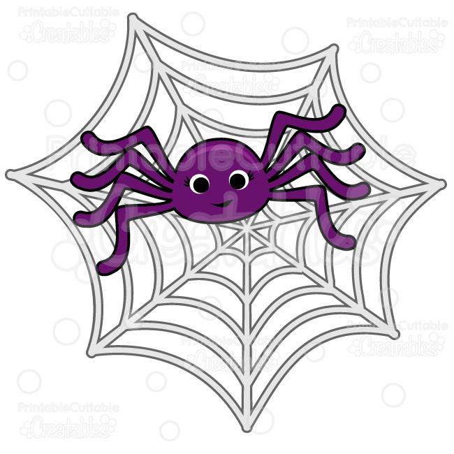 Cute Spider in Spiderweb SVG Cut File & Clipart