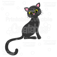 Cute Black Cat SVG Cutting File & Clipart