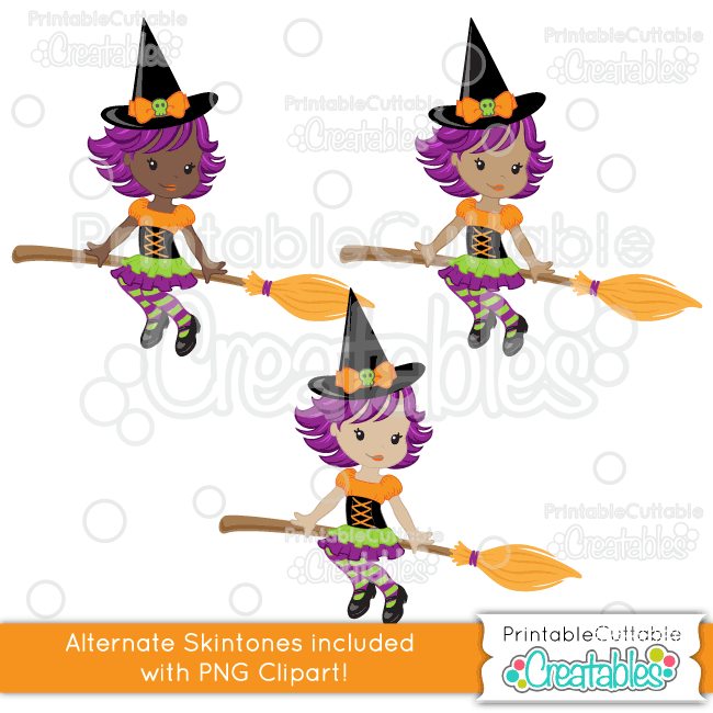 Cute Witch on Broom SVG Cuttable Clipart