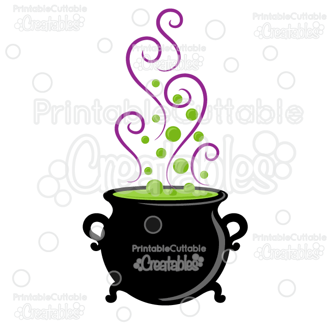 Halloween Witch Cauldron SVG Cut File & Clipart