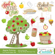 Apple Picking SVG Cut File & Clipart Embellishment Set
