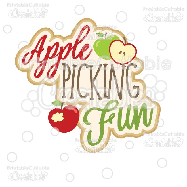 Apple Picking Fun Scrapbook Title SVG Cut File