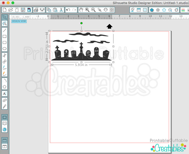Silhouette Studio place design on page for cutting