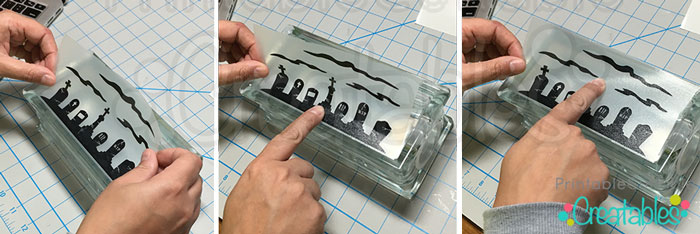 Apply vinyl decal to lighted glass block 1