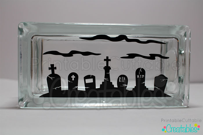 Glass Block with Vinyl Decal
