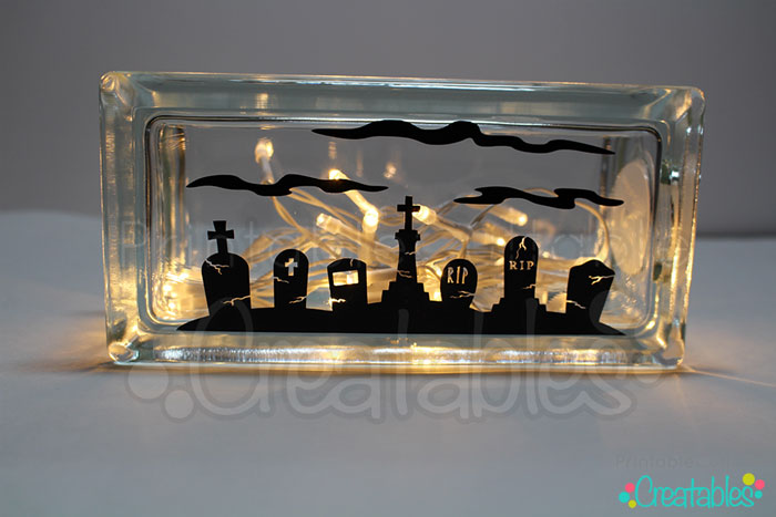 Lighted Glass Block DIY Halloween Craft