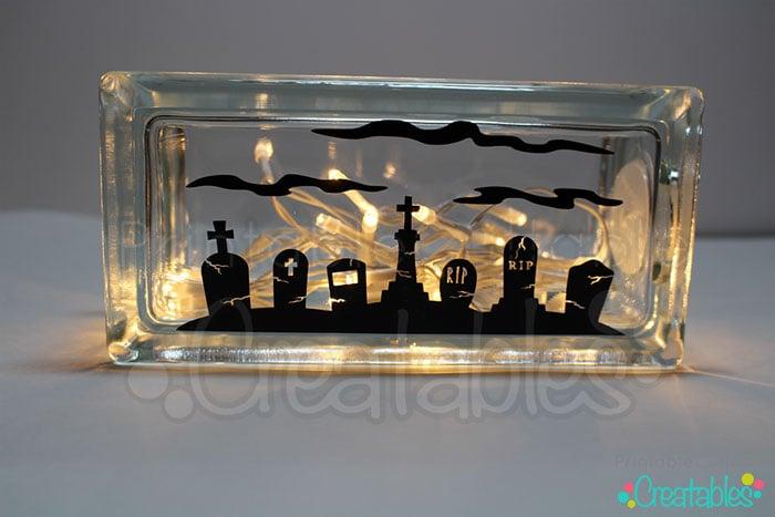 Lighted Glass Block DIY Halloween Craft