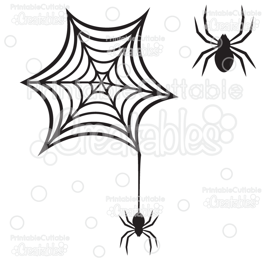 Creepy Spiderweb Spider Free Svg Cutting File Clipart