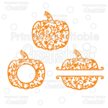 Whole Split & Monogram Frame Flourish Pumpkins Free