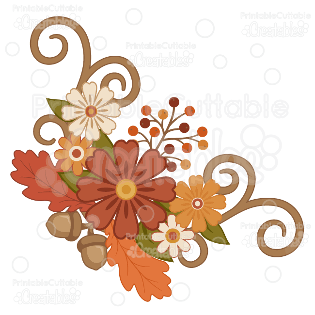 fall flower flourish group svg cut files   clipart Fall Leaves Clip Art Transparent Background Fall Leaves Background Clip Art