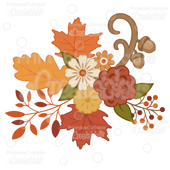 Pretty autumn flowers svg cutting files clipart mightylinksfo