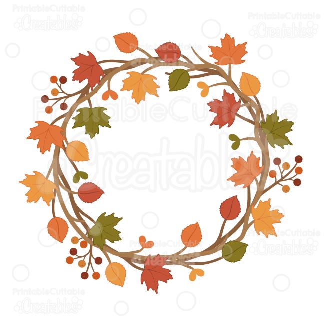 Autumn Wreath SVG Cuttable Clipart Cut File for Silhouette ...