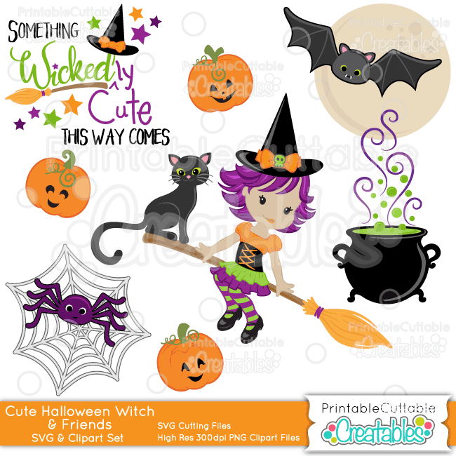 Cute Witch & Friends Halloween SVG Embellishment Set