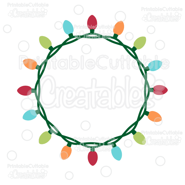 Christmas Lights Circle Monogram Frame Free SVG Cut File