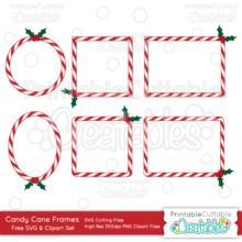 Candy Cane Frames Free SVG Digital Die Cutting Shapes