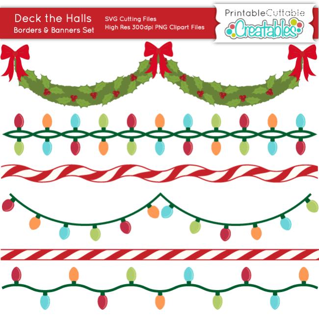 Deck the Halls Christmas Banners SVG Cut Files Set