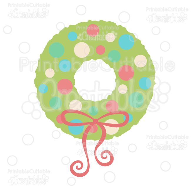 Polka Dot Christmas Wreath Free Svg Cut File Clipart