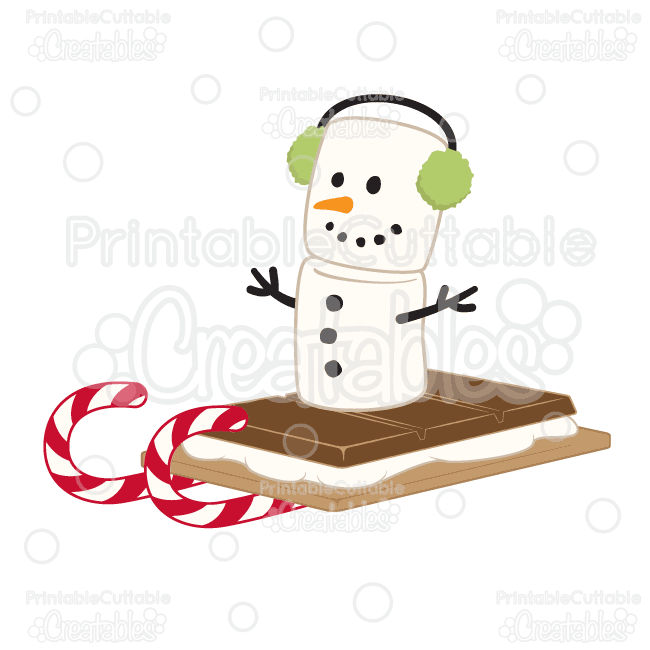 Marshmallow Snowman S'mores Sleigh Ride SVG Cut File & Clipart