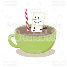 Marshmallow Snowman in Hot Cocoa SVG Cut File & Clipart