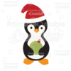 Penguin Holding Christmas Ornament SVG Cut File & Clipart