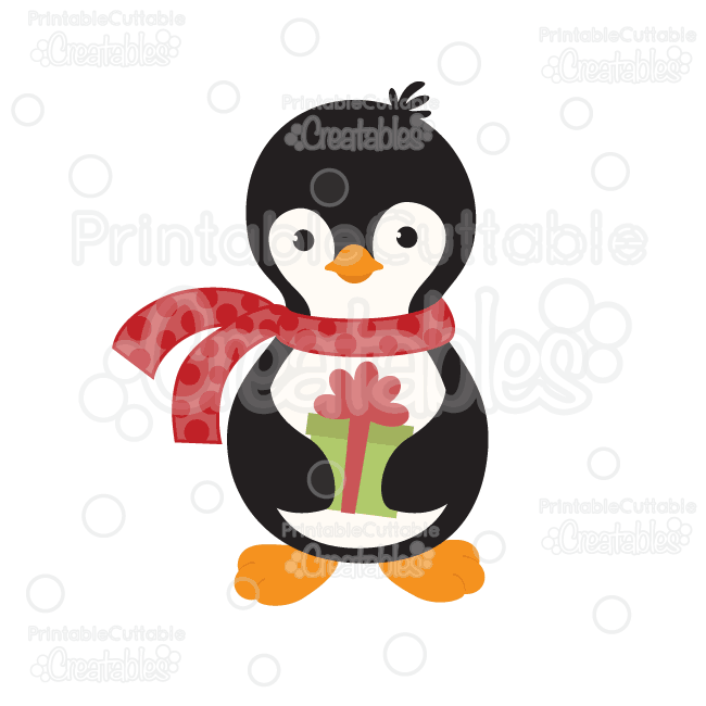 Penguin Holding Christmas Present SVG Cut File & Clipart