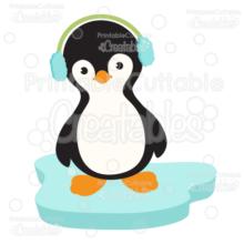 Winter Penguin Wearing Earmuffs SVG Cut File & Clipart