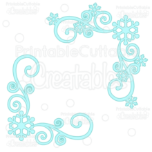 Snowflake Corner Flourishes SVG Cut Files & Clipart 2