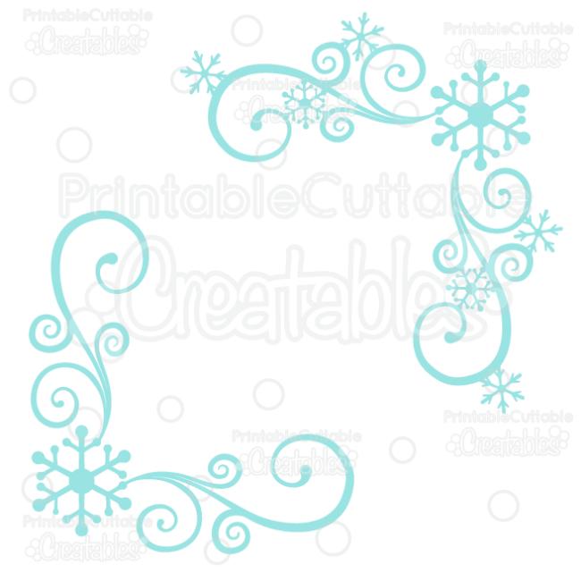 Snowflake Corner Flourishes SVG Cut Files & Clipart