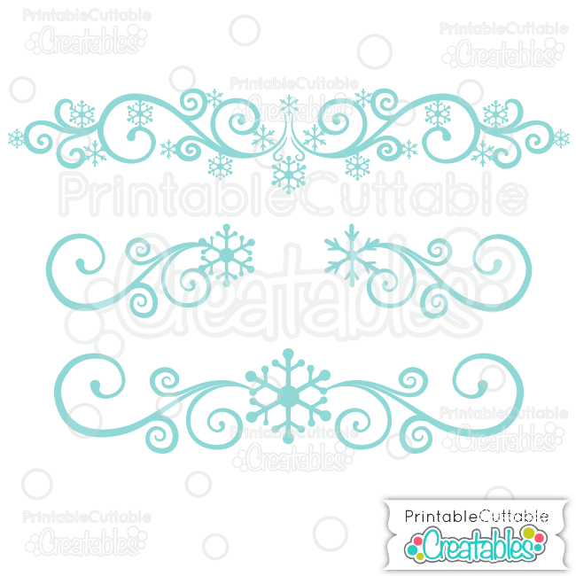 Snowflake Flourishes SVG Cut Files & Clipart 2